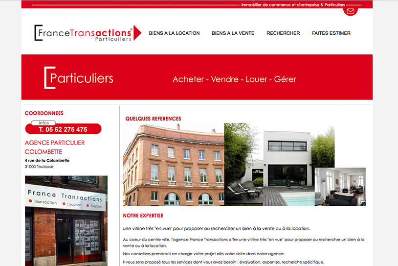 Site internet agence immobilière Toulouse France transaction