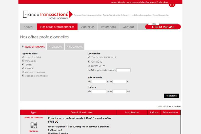 Site internet gestion immobilière France transactions